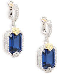 Judith Ripka - Estate Octogon Sterling Silver, Blue Sapphire & White Topaz Earrings - Lyst