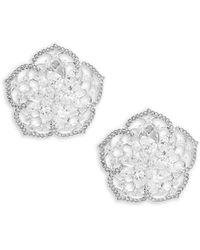 Adriana Orsini - Crystal Flower Stud Earrings - Lyst