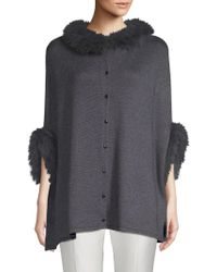 Belle Fare - Dyed Fox Fur Trimmed Poncho - Lyst