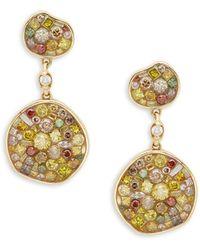 Plevé - Cinnamon 18k Yellow Gold & Diamond Triple Pebble Drop Earrings - Lyst