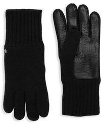 Roberto Cavalli - Wool Blend Leather Palm Gloves - Lyst