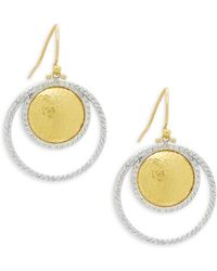 Gurhan - 24k Yellow Gold & Pavé Diamond Hoop Drop Earrings - Lyst
