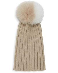 972c24be7412d Adrienne Landau Textured Rabbit Fur Beanie in Gray - Lyst