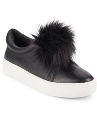 J/Slides - Leather & Faux Fur Pom-pom Trainers - Lyst
