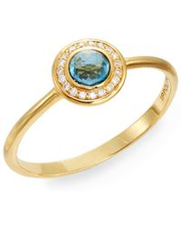 Ippolita - Lollipop London Blue Topaz, Diamond & 18k Yellow Gold Mini Ring - Lyst