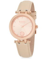 Versus - Posh Rose-gold Stainless Steel & Leather Strap Watch - Lyst