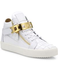 Giuseppe Zanotti - Embossed Leather High-top Sneakers - Lyst