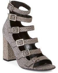 Saint Laurent - Babies Multi-strap Lurex Block-heel Sandals - Lyst