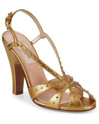 Valentino - Embellished Metallic Leather Sandals - Lyst