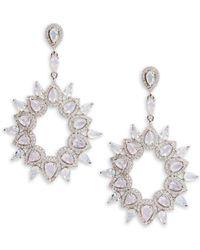 Saks Fifth Avenue - Cubic Zirconia Silvertone Earrings - Lyst