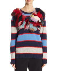 Harvey Faircloth - Fox Fur-trimmed Multi-stripe Cashmere Jumper - Lyst