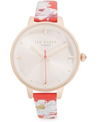 3faa14e69 Lyst - Ted Baker Zoe Stainless Steel And Leather Strap Watch in Pink