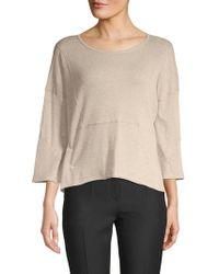 INHABIT - Roundneck Three-quarter Sleeve Sweater - Lyst