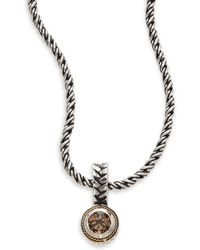 Effy - Smoky Quartz, Sterling Silver & 18k Yellow Gold Pendant Necklace - Lyst