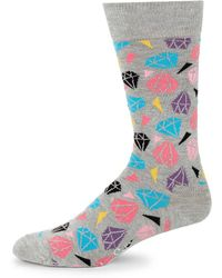 Happy Socks - Diamond-print Crew Socks - Lyst