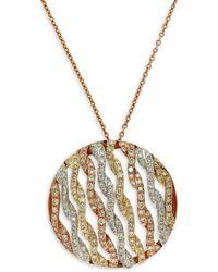 Effy   14 Kt. Gold Tri Color Diamond Pendant Necklace   Lyst