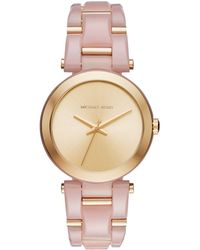 dd5d7a868450 Michael Kors - Delray Acetate And Goldtone Stainless Steel Bracelet Watch -  Lyst