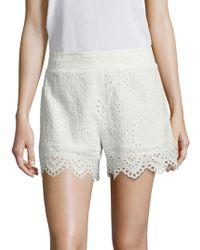 Nightcap - Scalloped Cotton Eyelet Shorts - Lyst