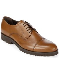 A.Testoni - Leather Cap Toe Derby Shoes - Lyst