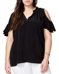 RACHEL Rachel Roy - Plus Plus Cold-shoulder V-neck Top - Lyst