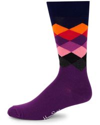 Happy Socks - Faded Diamond-print Crew Socks - Lyst