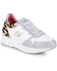 Blumarine - Leopard Dyed Calf Hair & Glitter Leather Sneakers - Lyst