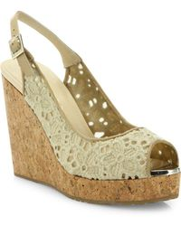 Jimmy Choo - Prova Eyelet Cork Wedge Slingbacks - Lyst