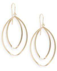 Saks Fifth Avenue | 14k Yellow Gold Double Hoop Twist Drop Earrings | Lyst