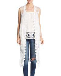 Cliche - Embroidered Chiffon Vest - Lyst