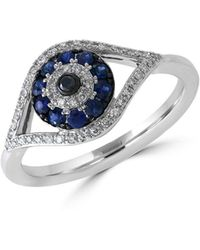 Effy - Royale Bleu Sapphire, Diamond And 14k White Gold Evil Eye Ring - Lyst