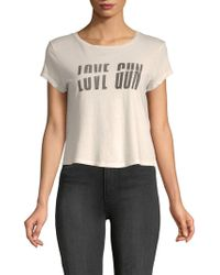 Mother - Goodie Goodie Distressed Cropped Cotton Tee - Lyst