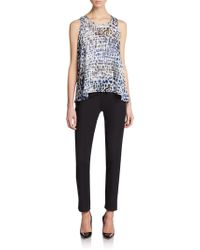 Saks Fifth Avenue Black - Embellished Printed Top - Lyst