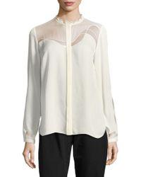 1a7dbdd9bbfb1c Elie Tahari - Justina Long-sleeve Silk-blend Blouse - Lyst