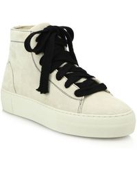 Helmut Lang - High-top Suede Lace-up Sneakers - Lyst