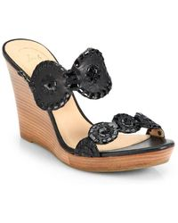 Jack Rogers - Luccia Leather & Patent Leather Wedge Sandals - Lyst
