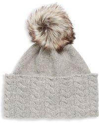 Portolano - Faux Fur Pom-pom Beanie - Lyst
