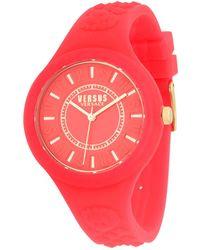 Versus - Embossed Quartz Silicone Strap Watch - Lyst