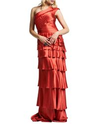 Kay Unger - One-shoulder Tiered Gown - Lyst