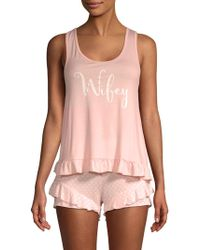 Betsey Johnson - Two-piece Screenprint Shorty Pajama Set - Lyst