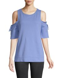 Sanctuary - Tie-sleeve Cotton Cold-shoulder Top - Lyst