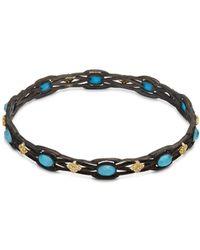 Armenta - Old World White Diamond, Blue Turquoise, Rainbow Moonstone & 18k Goldplated Sterling Silver Bracelet - Lyst