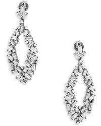 Pure Navy - Crystal & Silver Drop Earrings - Lyst