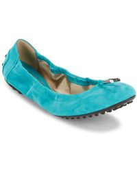 e8d9cef92b8 Lyst - Tod S Military Green Suede Dee Ballerina Flats in Green