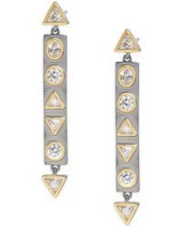 Freida Rothman - Classic Cubic Zirconia, Sterling Silver, Rhodium-plated & 14k Goldplated Mother Of Pearl Geometric Stone Bar Earrings - Lyst