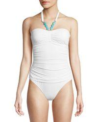 Lauren by Ralph Lauren - Beaded Bandeau One-piece Swimsuit - Lyst
