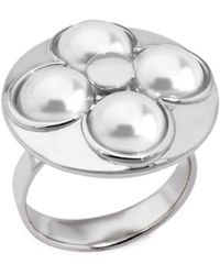 Majorica - Luck 8mm White Mabe Pearl & Sterling Silver Ring - Lyst