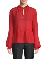 Laundry by Shelli Segal - Chiffon Tie-front Top - Lyst