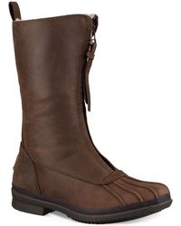 UGG - Arquette Piedmont Fur-trimmed Leather Boots - Lyst