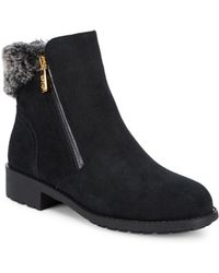 Cole Haan - Quinney Faux Fur Suede Booties - Lyst