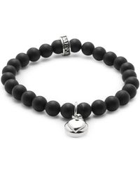 King Baby Studio - Silver Heart & 8mm Onyx Beaded Charm Bracelet - Lyst